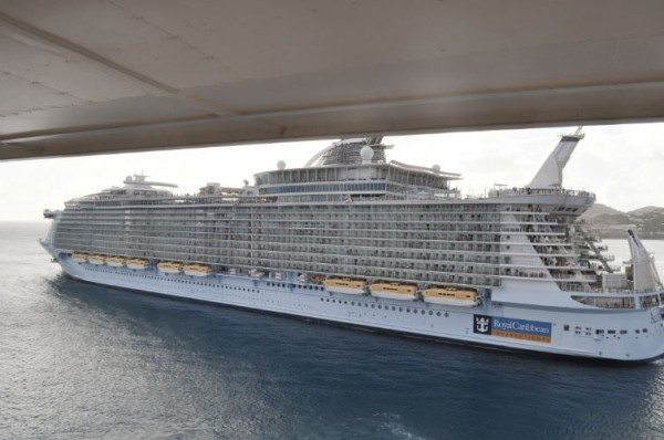 "This is the ""Allure of the Seas"" the largest cruise ship on the seas.  6000 passengers.  Pretty much Texas size!"